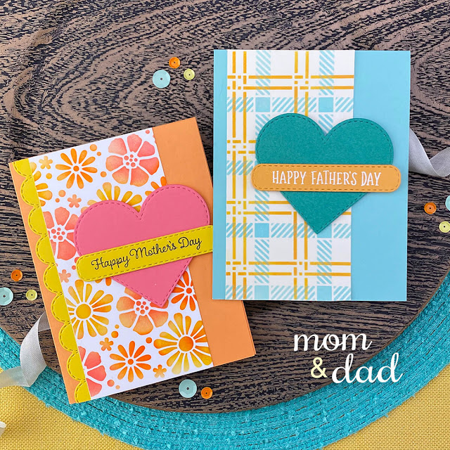 Mother's Day and Father's Day Cards by Jennifer Jackson | Mom & Dad Stamp Set, Heart Frames Die Set, Banner Trio Die Set, Bold Blooms Stencil and Plaid Stencil Set by Newton's Nook Designs #newtonsnook