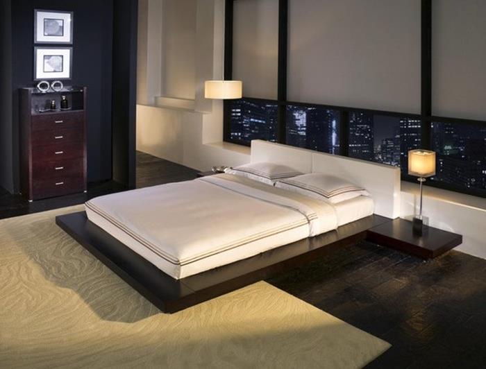japon tarzı sade yatak ve yatak odası