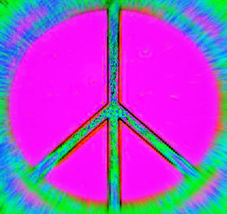 Funky pink and red peace sign