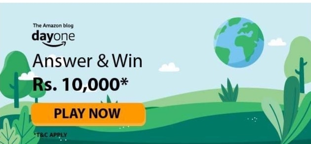 Amazon Day One Quiz Answers Win Rs.10000. Amazon Day One Quiz. The Amazon Blog Day One Quiz Answers. How to play Amazon Day One. Amazon Day One Quiz Answer