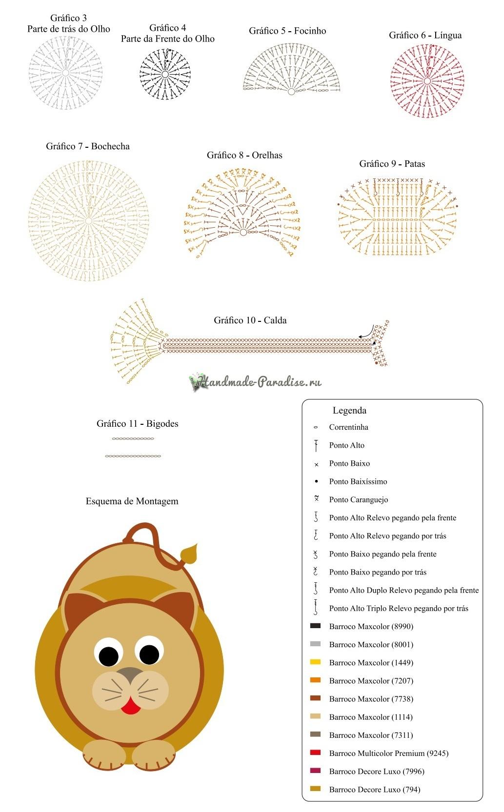 Схемы вязания крючком детского коврика «Львенок» (2)