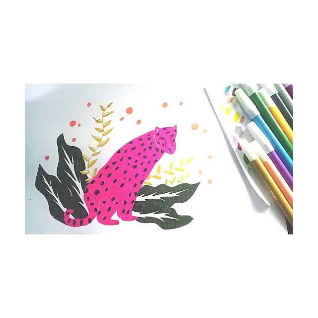 ilustrasi macan pink