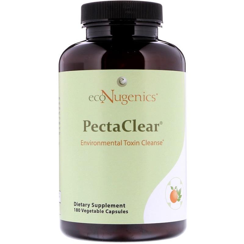 Econugenics, PectaClear, Средство для выведения токсинов, проникающих в организм из окружающей среды, 180 растительных капсул