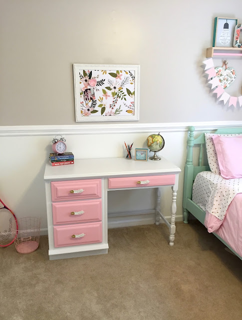 diy chalk paint kids desk makeover
