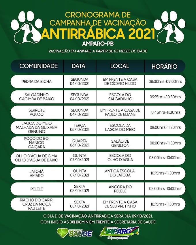 Prefeitura de Amparo realizará campanha de vacinação antirrábica entre os dia 04 e 09 de outubro