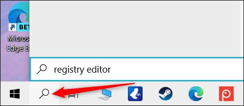 """انقر فوق رمز البحث ، ثم اكتب """"محرر التسجيل"""" في مربع النص."""