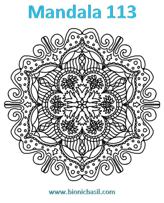 Mandalas on Monday ©BionicBasil® Colouring With Cats Mandala #113 Downloadable Image