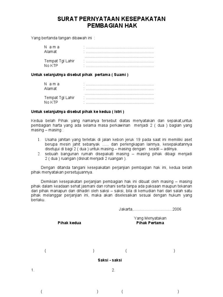 Contoh Surat Pernyataan Cerai Diatas Materai Simak Gambar