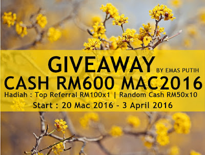 """Giveaway Cash RM600 MAC2016 by Emas Putih"""
