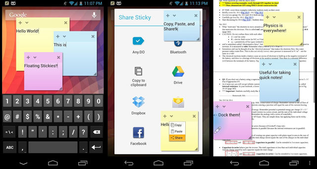 Floating Stickies For Android Phone and Tablet