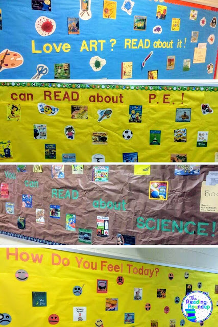 A variety of literacy bulletin board ideas featuring popular children's books such as: Charlie & the Chocolate Factory, The Rainbow Fish, Magic Treehouse, and more!