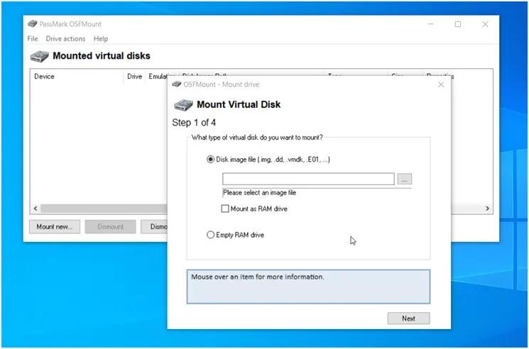 OSFMount : Δημιουργήσετε εικονικούς δίσκους για αρχεία εικόνας και  δίσκους RAM