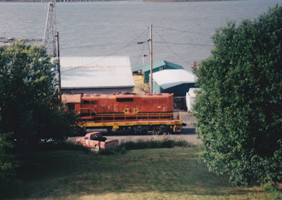 "Willamette & Pacific GP9R #1803 ""Sherwood"" in Rainier, Oregon, in June 1998."