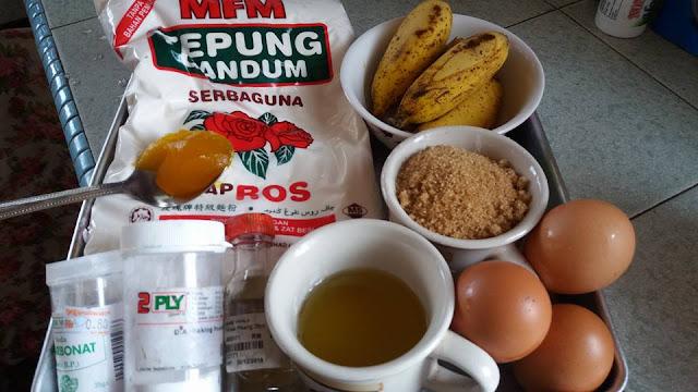 bahan-bahan,resepi,Resepi Kek Pisang Almond Simple
