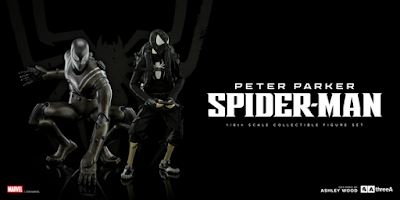 Bambaland Exclusive Stealth Edition Peter Parker & Spider-Man Robot 1/6 Scale Collectible Figure Set by Ashley Wood x Marvel x ThreeA