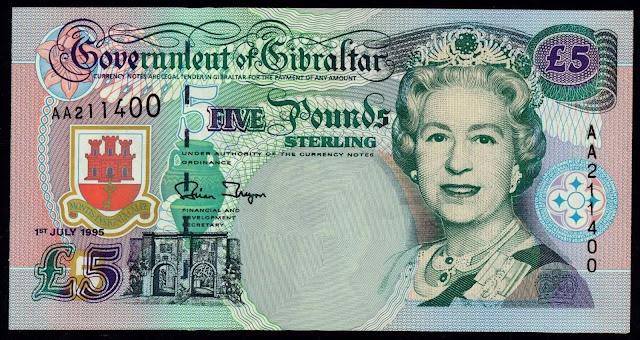 Gibraltar Banknotes 5 Pounds banknote 1995 Queen Elizabeth II