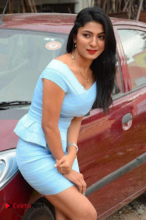 Actress Ankitha Jadhav Pictures in Blue Short Dress at Cottage Craft Mela 0015.JPG
