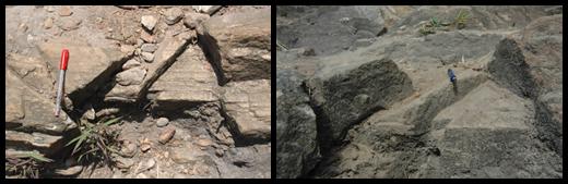 Configuração geométrica das falhas normais nos quartzitos, no Pico do Jaraguá. Da direita para a esquerda: (i) deslocamento vertical entre os blocos e (ii) arranjo escalonado e mergulho subvertical entre os blocos (clique para ampliar). Foto: acervo Letta/Velázquez