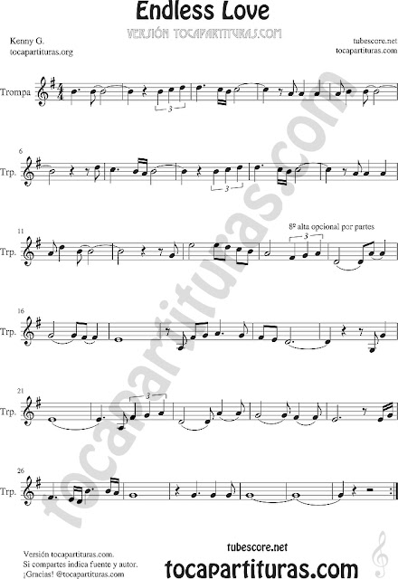 Trompa y Corno Francés Partitura de Endless Love en Mi bemol Sheet Music for French Horn Music Scores