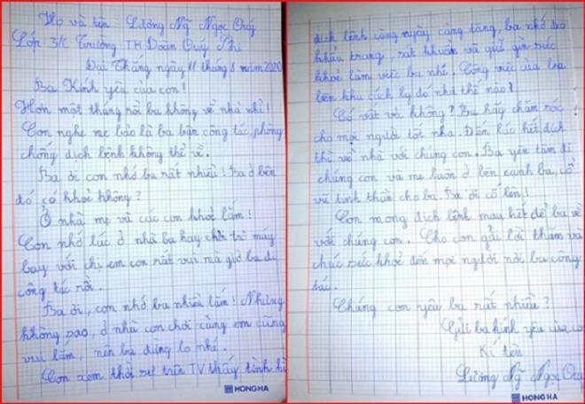 Cô bé lớp 3 viết thư gửi cha nơi tuyến đầu chống dịch