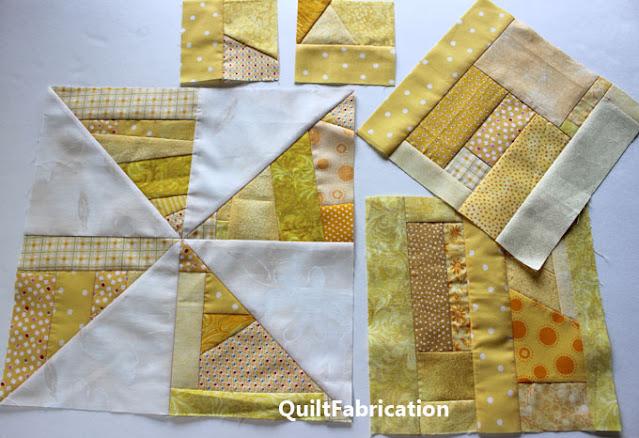 yellow scrap pinwheel quilt blocks