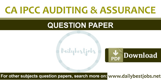 CA IPCC Auditing & Assurance Question Paper PDF Download