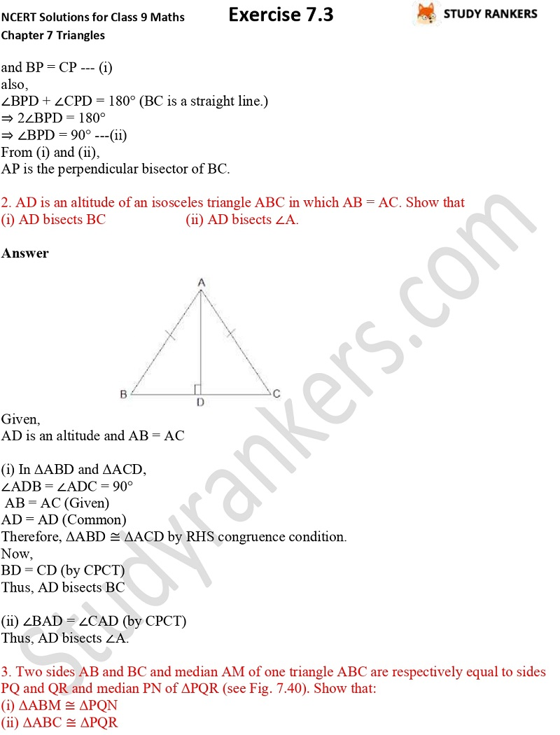 NCERT Solutions for Class 9 Maths Chapter 7 Triangles Exercise 7.3 Part 2