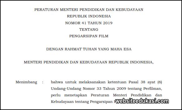 Permendikbud 41 Tahun 2019 Tentang Pengarsipan Film