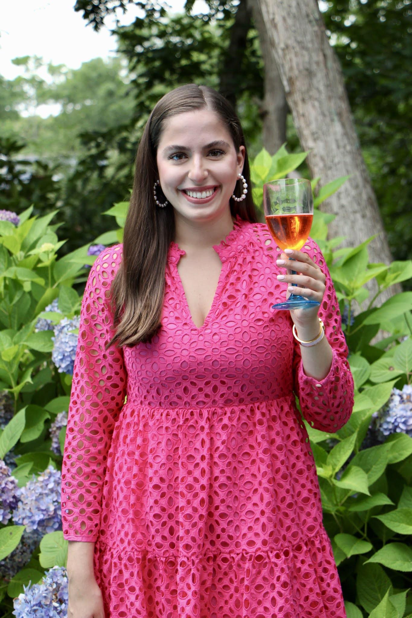 hydrangeas, hamptons, pink dress, aperol,