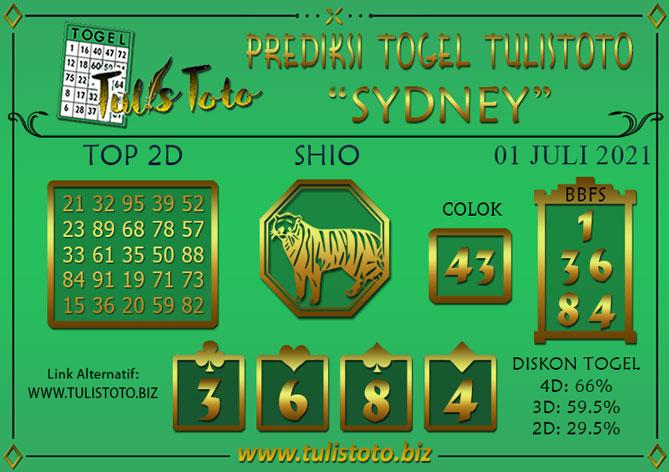 Prediksi Togel SYDNEY TULISTOTO 01 JULI 2021