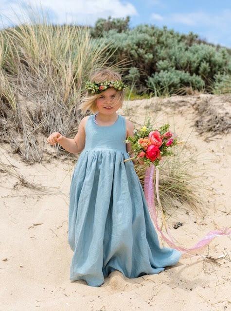 MELBOURNE HANDMADE LINEN FLOWER GIRL DRESSES