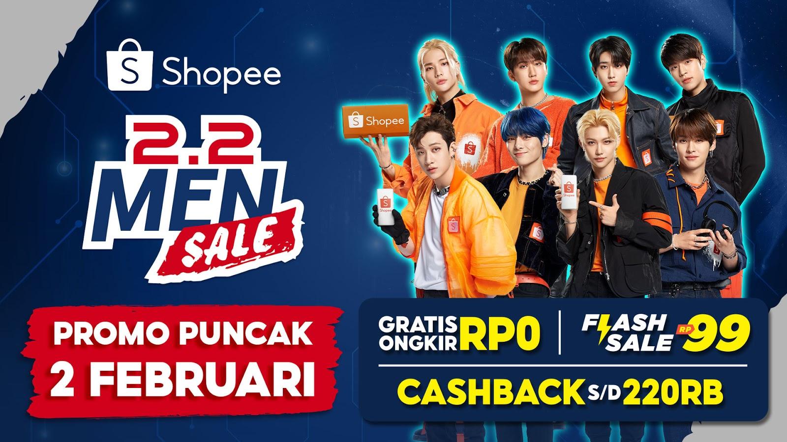 Promo Puncak Shopee 2.2 Men Sale Hadirkan Gratis Ongkir, Flash Sale, dan Cashback!