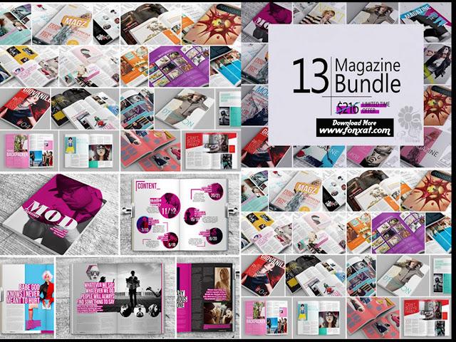 13 تصميم مجلة كاملة الصفحات باشكال روعة والوان متناسقة بحجم 400 ميجا بايت