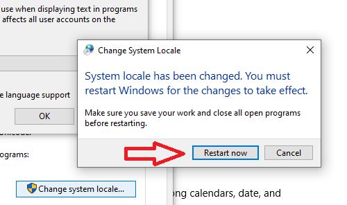 8 - ثم قم بإعادة تشغيل الويندوز من جديد بالضغط على زر إعادة التشغيل.