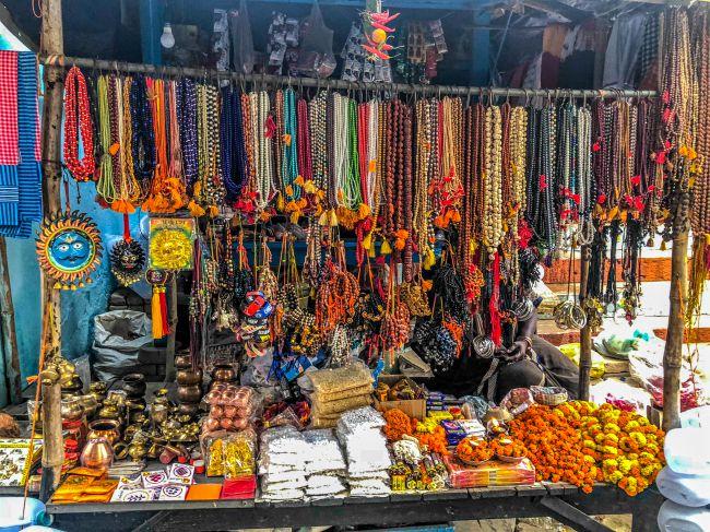 A stall at Assi Ghat Varanasi