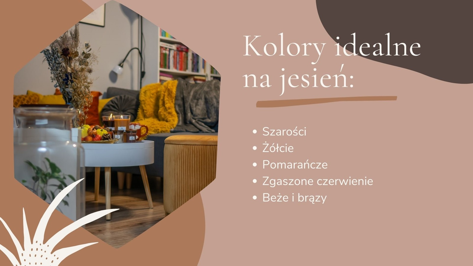 jesienne dekoracje do mieszkania salon żółte poduszki narzuta futrzasta koc żółta pufa dodatki na jesień w stylu boho skandynawskim blog metamorfoza salonu inspiracje pomysły