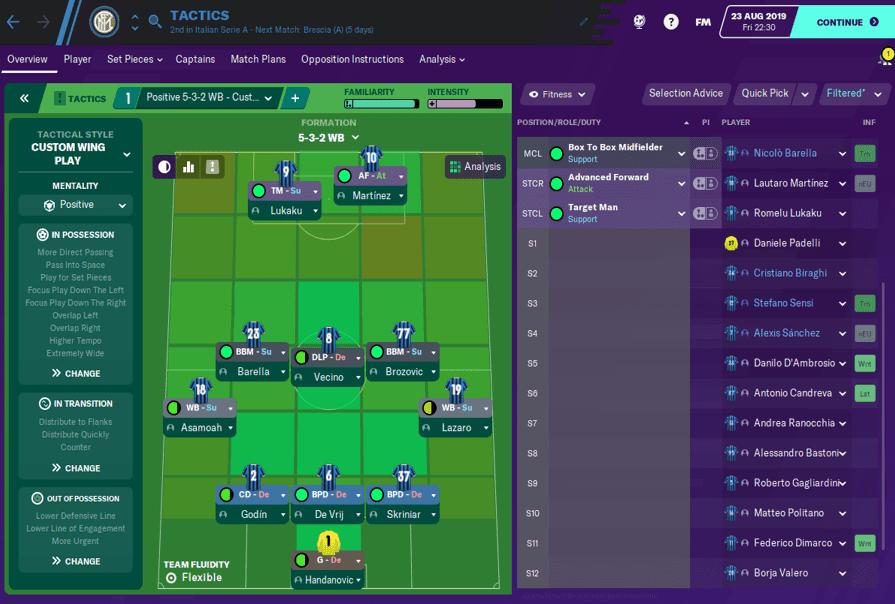 Inter Milan - 5-3-2 FM20 winning tactic