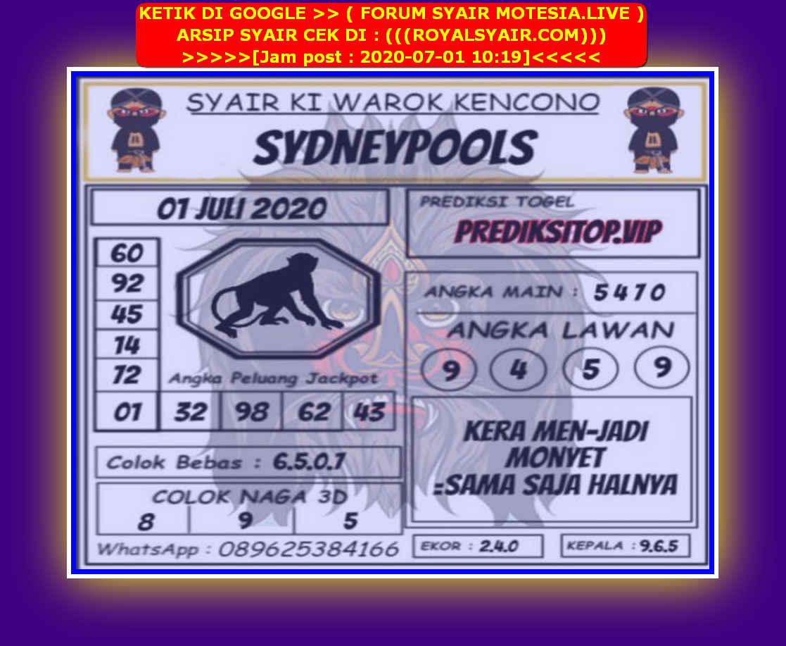 Kode syair Sydney Rabu 1 Juli 2020 183
