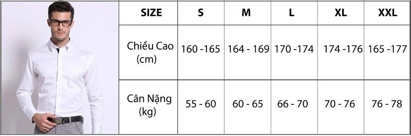 Bảng size áo sơ mi nam theo chiều cao và cân nặng