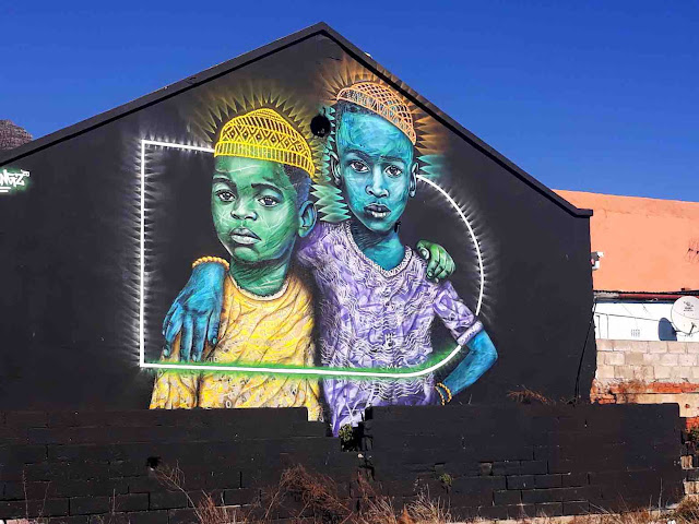 Mural of two young boys by Dbongz, Salt River