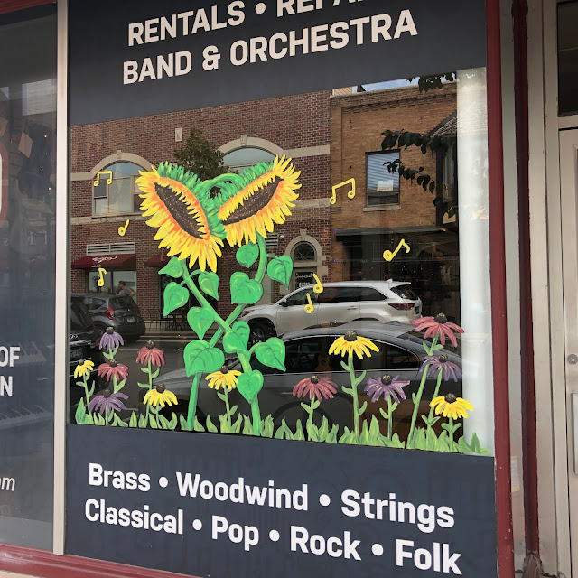 Prairie flowers window art design by Chicago Area Artist Cheryl Rausch.