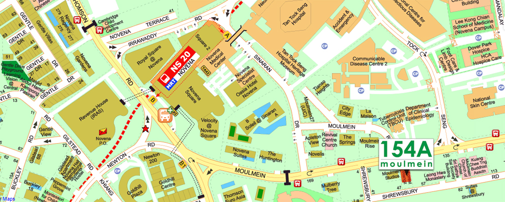 145A Moulmein Serviced Apartments - Location Map