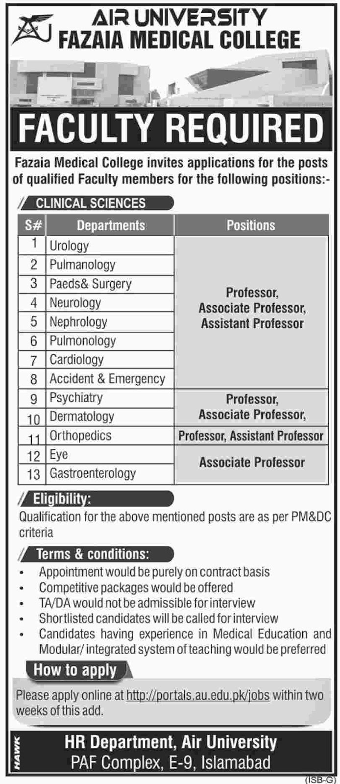 ➨ #Jobs - #Career_Opportunities - Jobs at Air University – Fazaia Medical College  – for application visit the link