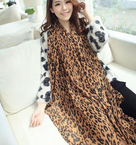 Long Leopard Print Silky Chiffon Scarves