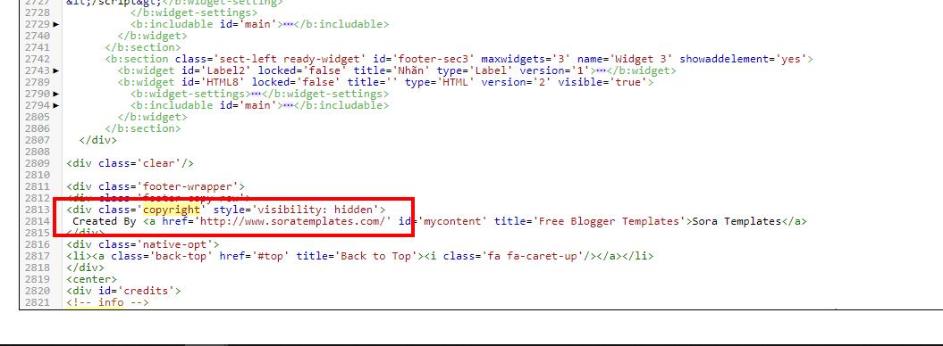 Đoạn code bản quyền chân trang