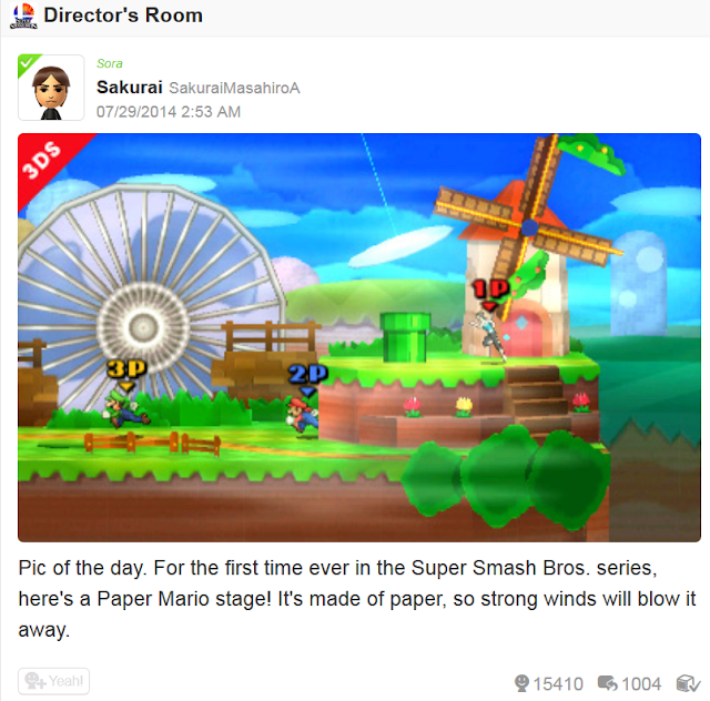 Paper Mario Sticker Star stage Super Smash Bros. 4 Sakurai post of the day Miiverse