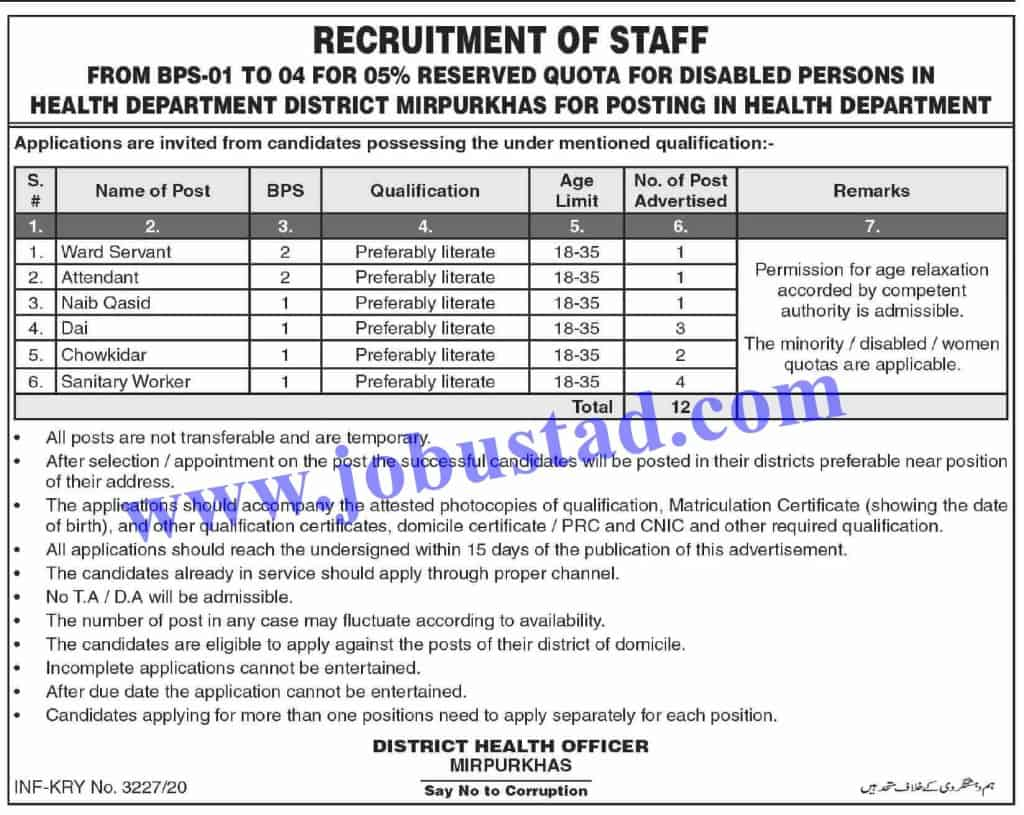 Jobs In Health Department Mirpurkhas Govt Of Sindh Nov 2020