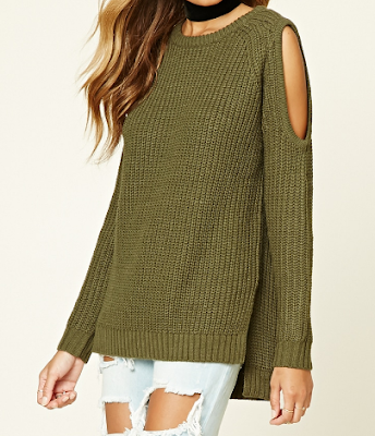 Cold shoulder sweater, side slit, olive green