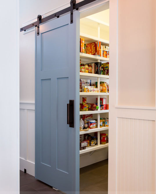image result for beautiful blue painted sliding barn door to pantry