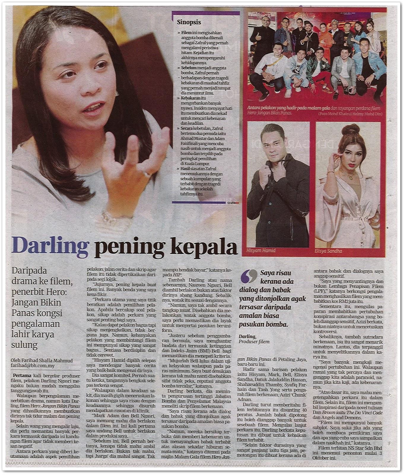 Darling pening kepala - Keratan akhbar Berita Harian 3 Oktober 2019